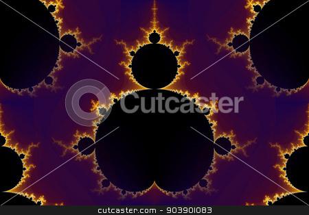 Fractal Mandelbrot Seamless stock photo, Mandelbrot fractal in the colors of purple golden yellow blue. by Henrik Lehnerer