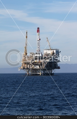 Oil Rig stock photo, Oil Rig in the channel island near Ventura California. by Henrik Lehnerer