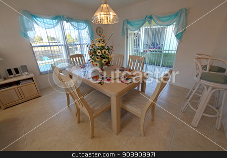 Dining Room stock photo, A Dining Room in a home in Florida by Lucy Clark