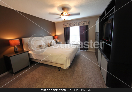 Bedroom stock photo, A bedroom, interior shot of a home by Lucy Clark