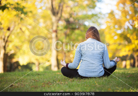 Rear View of Meditating Woman stock photo, Rear view of woman sitting in meditation pose outdoors by Scott Griessel