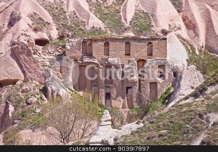 Rock Home in Cappadocia Turkey stock photo, Home built into the soft rock cliffs of Cappadocia Turkey by Scott Griessel