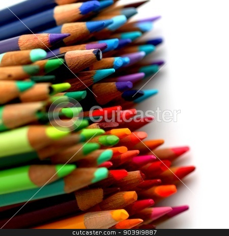 Color Pencils stock photo, Group of color pencils with different colors. by Henrik Lehnerer