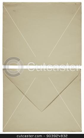 1960s old envelope front and back isolated on white stock photo, 1960s old envelope front and back isolated on white by Stephen Rees