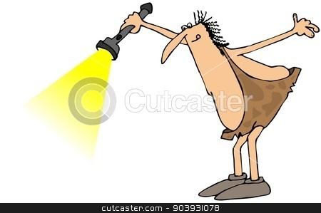 Caveman shining a flashlight stock photo, This illustration depicts a caveman shining a flashlight in front of him. by Dennis Cox