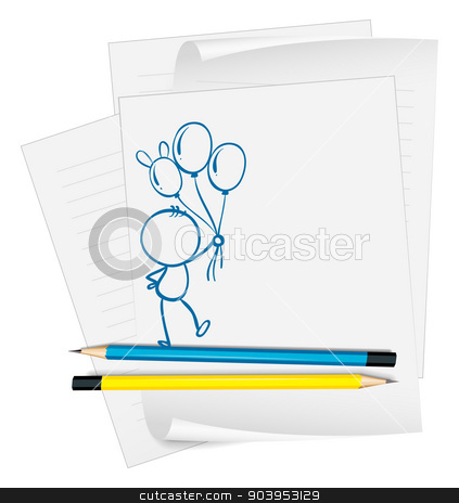 A paper with a sketch of a person holding balloons