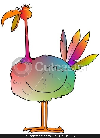 Multicolored bird stock photo, This illustration depicts a multicolored bird with a long neck. by Dennis Cox