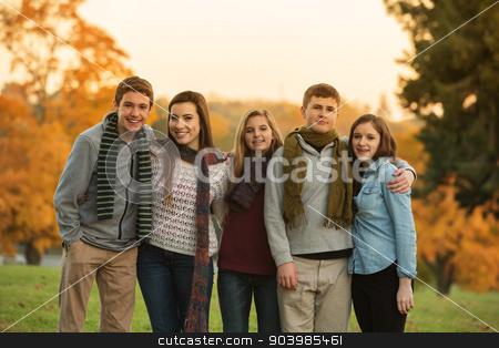 Five Cute Teens with Scarves stock photo, Cute group of teenaged males and females in scarves outdoors by Scott Griessel
