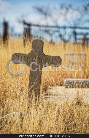 Unknown Stone Grave Marker stock photo, Single worn out stone grave marker with unknown text by Scott Griessel