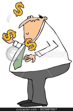 Businessman juggling dollar signs stock photo, This illustration depicts a chubby businessman juggling large dollar signs. by Dennis Cox