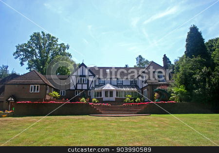 Tudor Home stock photo, A large estate home, tudor style, in the UK by Lucy Clark