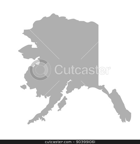 Alaska map stock photo, Alaska map isolated on a white background, U.S.A. by Martin Crowdy