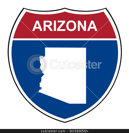 Arizona interstate highway shield stock photo, Arizona American interstate highway road shield isolated on a white background. by Martin Crowdy