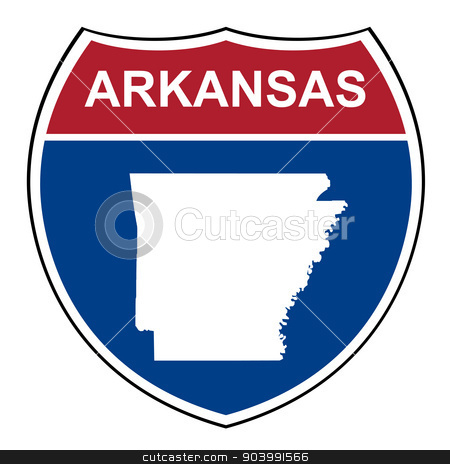 Arkansas interstate highway shield stock photo, Arkansas American interstate highway road shield isolated on a white background. by Martin Crowdy