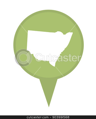 Australia New South Wales State map marker pin stock photo, Australia New South Wales State map marker pin isolated on a white background. by Martin Crowdy