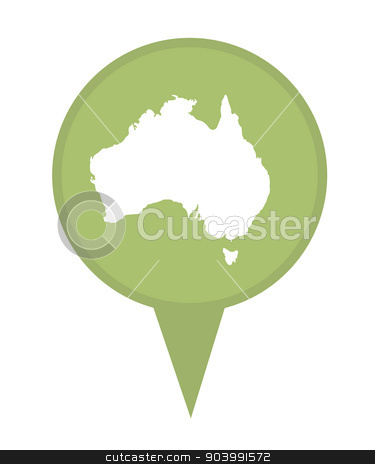 Australia map marker pin stock photo, Australia map marker pin isolated on a white background. by Martin Crowdy