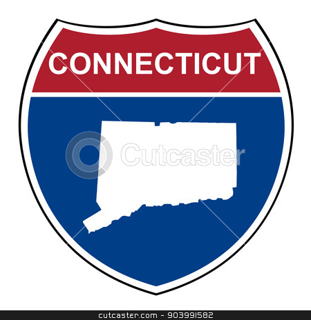 Connecticut interstate highway shield stock photo, Connecticut American interstate highway road shield isolated on a white background. by Martin Crowdy