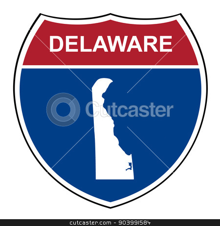 Delaware interstate highway shield stock photo, Delaware American interstate highway road shield isolated on a white background. by Martin Crowdy