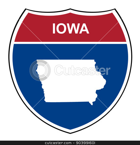 Iowa interstate highway shield stock photo, Iowa American interstate highway road shield isolated on a white background. by Martin Crowdy