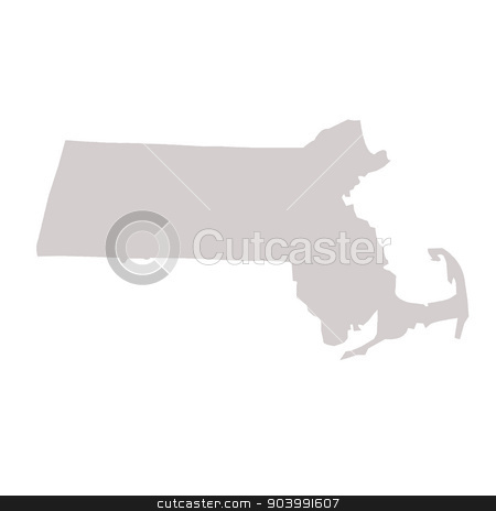Massachusetts State map stock photo, Massachusetts State map isolated on a white background, USA. by Martin Crowdy