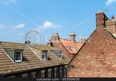 Rooftop of houses in Whitby Town stock photo, Scenic view of the rooftops of town houses in Whitby, North Yorkshire, England. by Martin Crowdy