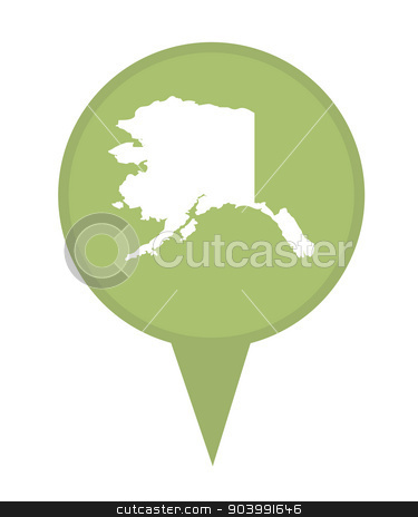 State of Alaska map pin stock photo, American state of Alaska marker pin isolated on a white background. by Martin Crowdy