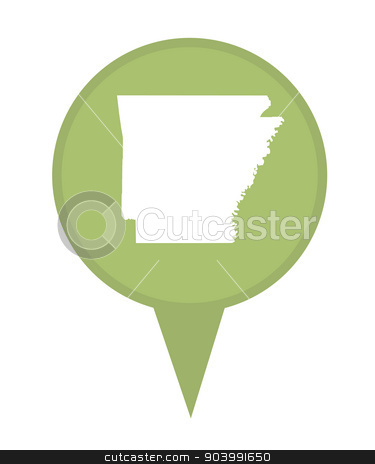 State of Arkansas map pin stock photo, American state of Arkansas marker pin isolated on a white background. by Martin Crowdy