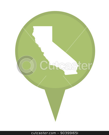 State of California map pin stock photo, American state of California marker pin isolated on a white background. by Martin Crowdy
