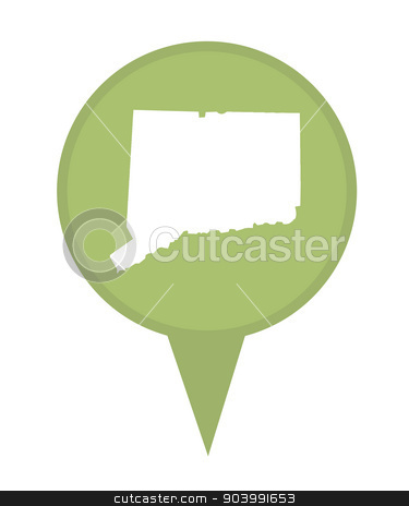 State of Connecticut map pin stock photo, American state of Connecticut marker pin isolated on a white background. by Martin Crowdy