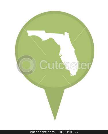 State of Florida map pin stock photo, American state of Florida marker pin isolated on a white background. by Martin Crowdy