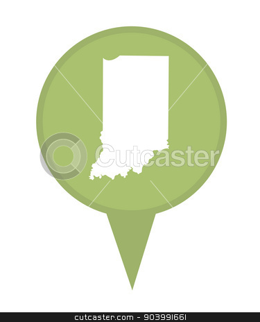 State of Indiana map pin stock photo, American state of Indiana marker pin isolated on a white background. by Martin Crowdy