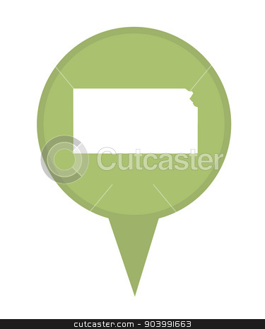 State of Kansas map pin stock photo, American state of Kansas marker pin isolated on a white background. by Martin Crowdy
