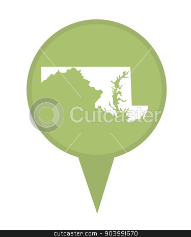State of Maryland map pin stock photo, American state of Maryland marker pin isolated on a white background. by Martin Crowdy