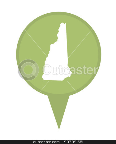 State of New Hampshire map pin stock photo, American state of New Hampshire marker pin isolated on a white background. by Martin Crowdy