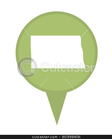 State of North Dakota map pin stock photo, American state of North Dakota marker pin isolated on a white background. by Martin Crowdy