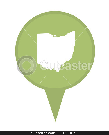 State of Ohio map pin stock photo, American state of Ohio marker pin isolated on a white background. by Martin Crowdy