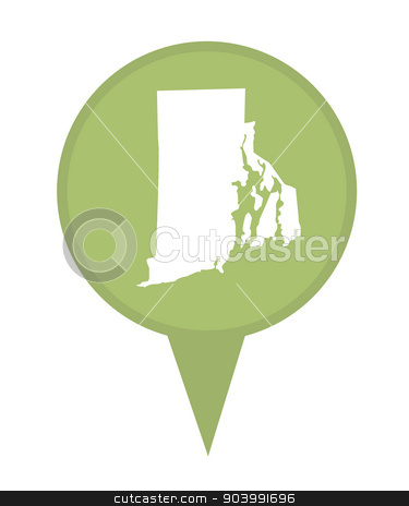 State of Rhode Island map pin stock photo, American state of Rhode Island marker pin isolated on a white background. by Martin Crowdy