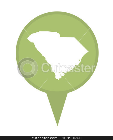 State of South Carolina map pin stock photo, American state of South Carolina marker pin isolated on a white background. by Martin Crowdy