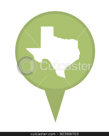 State of Texas map pin stock photo, American state of Texas marker pin isolated on a white background. by Martin Crowdy