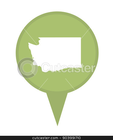 State of Washington map pin stock photo, American state of Washington marker pin isolated on a white background. by Martin Crowdy