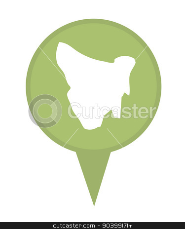 Tasmania map marker pin stock photo, Tasmania map marker pin isolated on a white background. by Martin Crowdy
