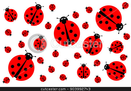 Many Ladybugs stock photo, Background image with many different sized ladybugs on white background. by Henrik Lehnerer