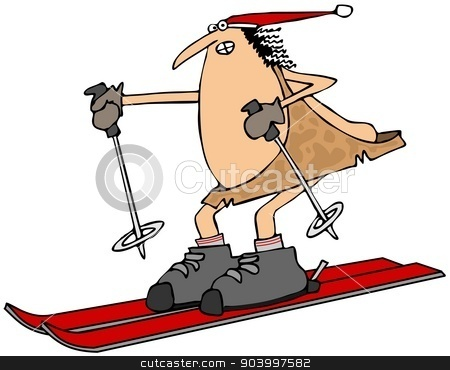 Caveman on skis stock photo, This illustration depicts a caveman on skis with a pole in each hand. by Dennis Cox