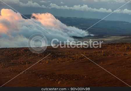 Evening Above Maui Clouds stock photo, Evening above Maui clouds from mountain in Haleakala by Scott Griessel