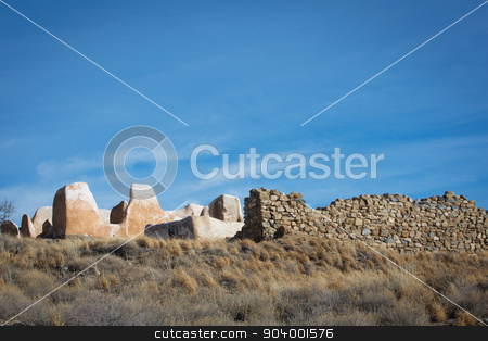 Old American Fortress stock photo, Old American Civil War stone fortress in desert by Scott Griessel