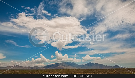 Beautiful Mountains in Desert stock photo, Beautiful clouds above Arizona mountains in desert by Scott Griessel