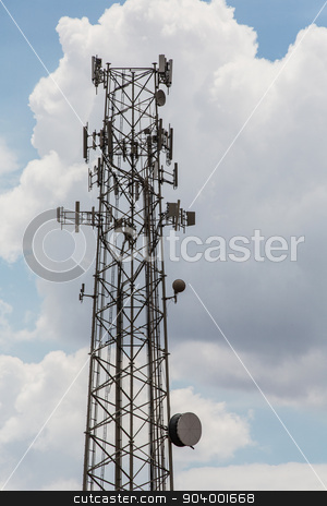 Cell Phone Repeater Towers stock photo, Cellular telephone repeaters on tall tower in sky by Scott Griessel
