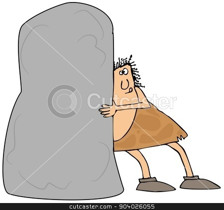 Caveman pushing a large boulder stock photo, This illustration depicts a caveman trying to push a giant boulder. by Dennis Cox