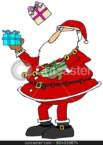 Santa juggling packages stock photo, This illustration depicts Santa Claus juggling three wrapped packages. by Dennis Cox