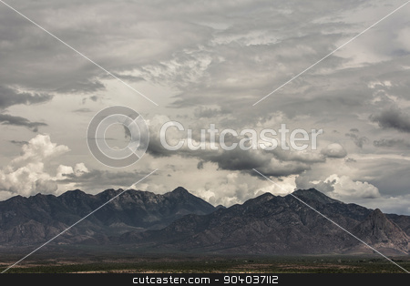 Arizona Monsoon Season stock photo, Cloudy summer monsoon forming around arizona  mountain by Scott Griessel